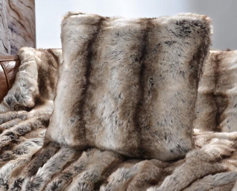 Fellkissen (Webpelzkissen) Wolf grau-braun 45x45cm - Premium superfein