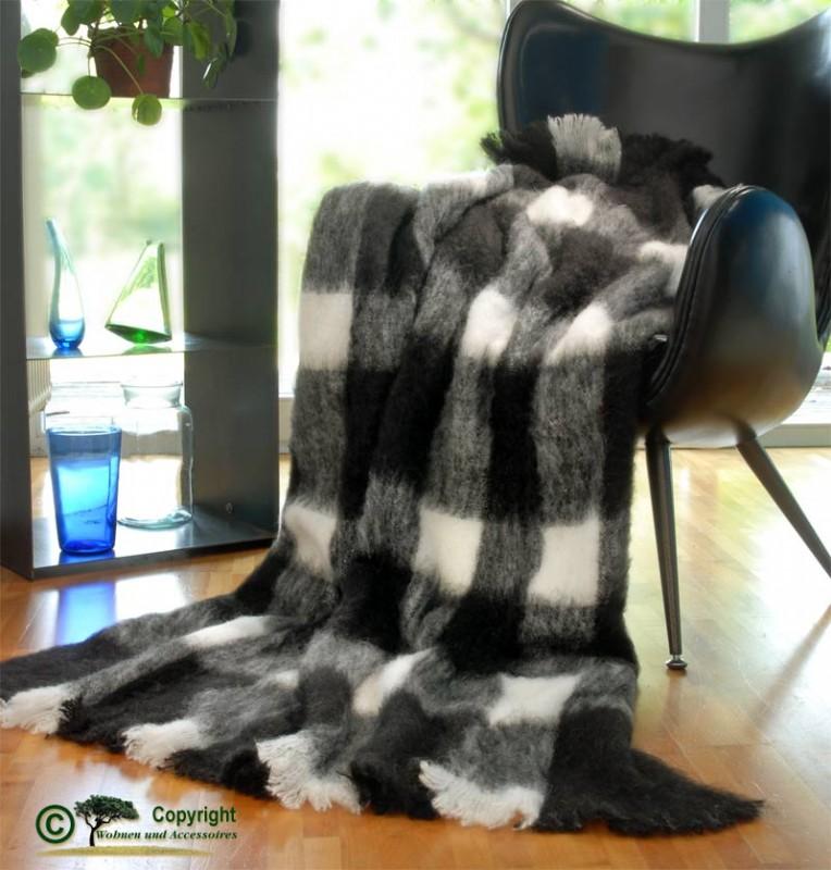 Beste Qualität aus Neuseeland! Wolldecke Mila aus Alpaka, super weich wie Kaschmir schwarz weiß
