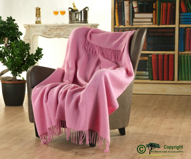 englische wolldecke mit eingewobener struktur aus 100 neuseeland wolle rosa ebay. Black Bedroom Furniture Sets. Home Design Ideas