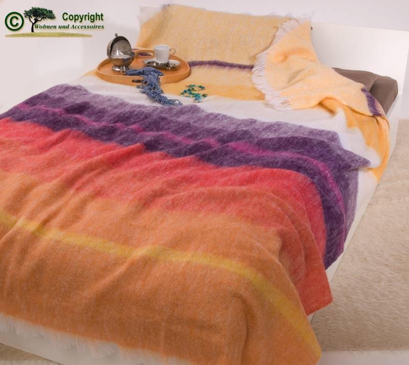XXL übergroße Wolldecke Tagesdecke aus Mohair mit bunten Streifen 220x240cm