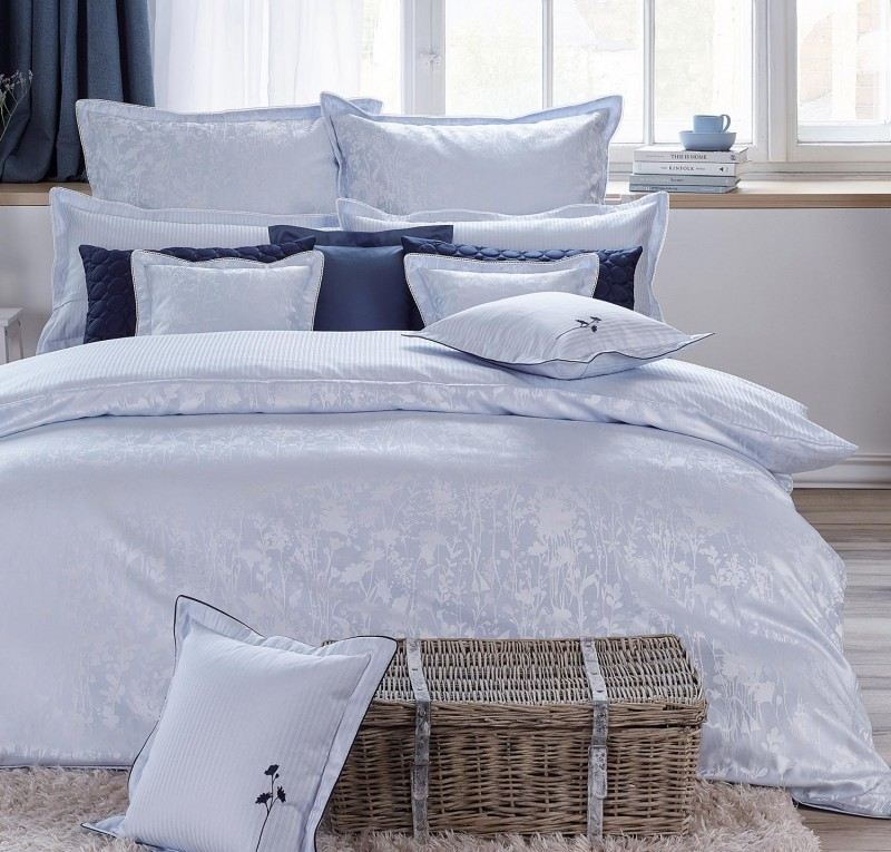 Curt Bauer Bettwäsche Set Sanna in blau 135x200cm und 80x80 oder 40x80cm Kissen
