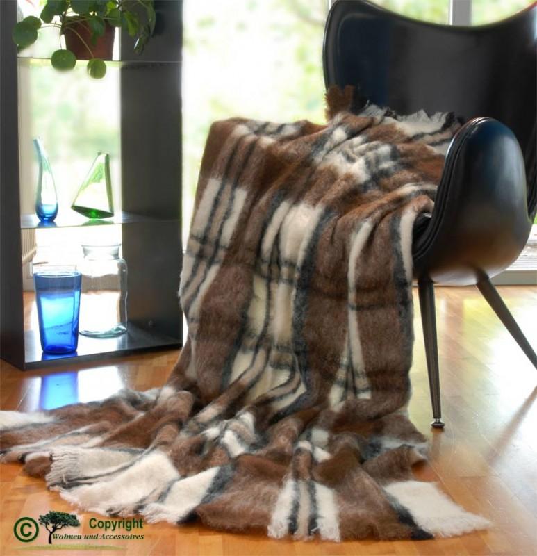 Beste Qualität aus Neuseeland! Wolldecke Lucy aus Alpaka super weich wie Kaschmir braun, schwarz