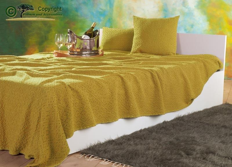 Tagesdecke Adele, hochwertiger französischer Überwurf mit Ajour Muster gelb 180x260cm