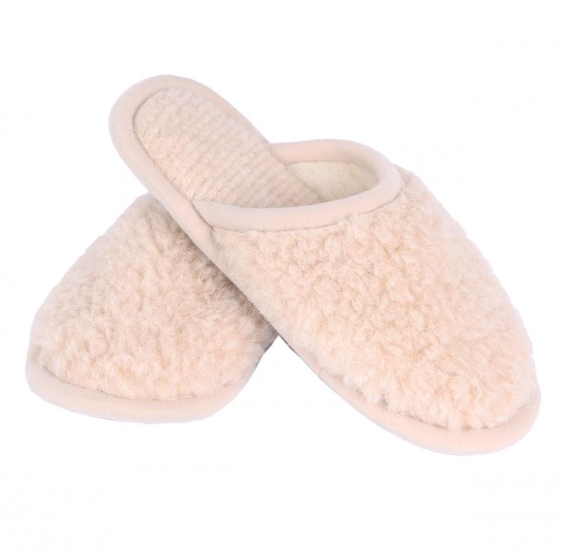 Wollslipper beige-natur mit Anti-Rutsch Sohle alle Größen