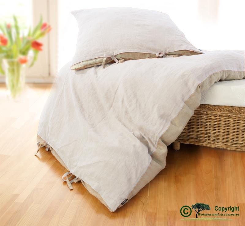 Französische Leinen-Bettwäsche, Bettbezug 140x200cm aus 100% Leinen weiß