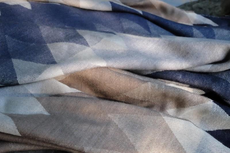 AKTION 100% Merino Wollplaid Harlekin, Wolldecke blau-beige Merinowolle ca. 155x205 cm