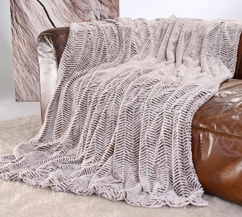 Kuscheldecke Felloptik weiß-braun 150x200cm