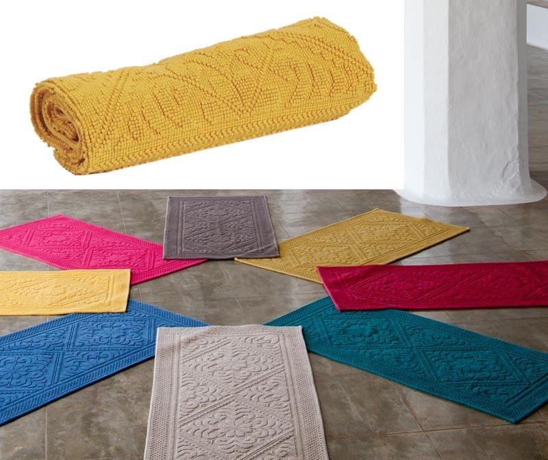 Badteppich - Badematte - Badvorleger 110x54cm in gelb