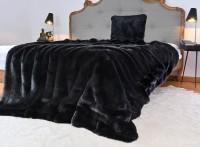 Felldecke (Kunstfell) ONYX schwarz - 5 Größen - 150x200 bis 260x300cm - Premium superfein / Ausgewählt: 150x200cm