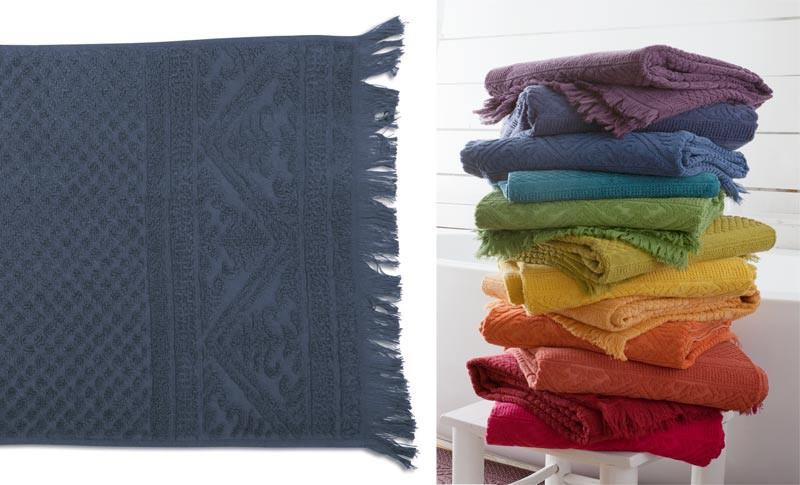 Gästehandtuch, Gästetuch 30x50cm aus reiner Baumwolle in blau / dunkelblau