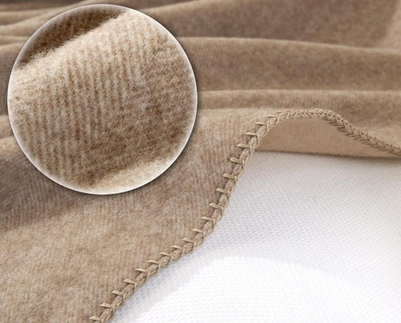 AKTION 100% Kaschmirdecke Portofino umkettelte Wolldecke Doubleface mit Fischgrat 150x200-220cm