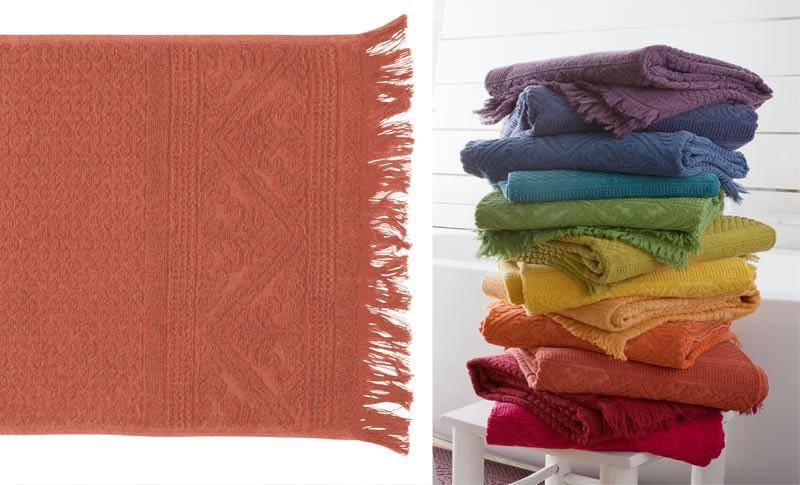 Handtuch 50x100cm aus reiner Baumwolle in terracotta