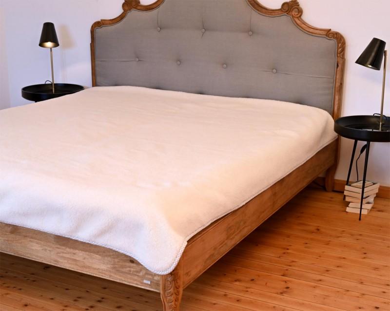 Wolldecke (Bettdecke) Vanille 200x220cm, 100% Merinowolle mit Einfassung Leinenband