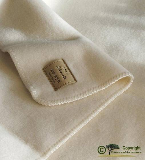 Naturbelassene Wolldecke wollweiß, weiß Optilana 100% Wolle 150x220cm von Steinbeck