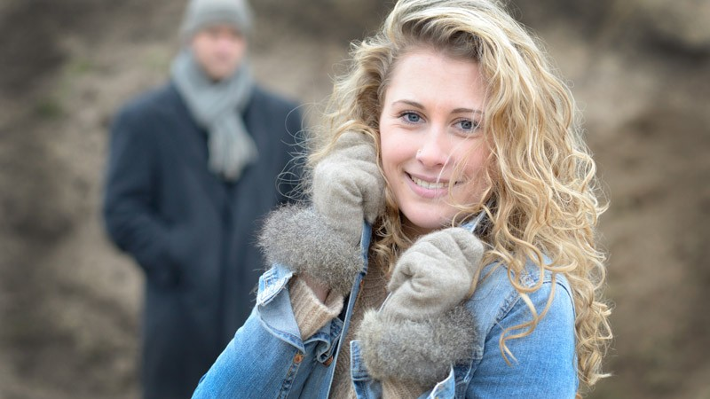Edelste Handschuhe mit Fell, Wollhandschuhe Merinowolle und Possum beige Größe M