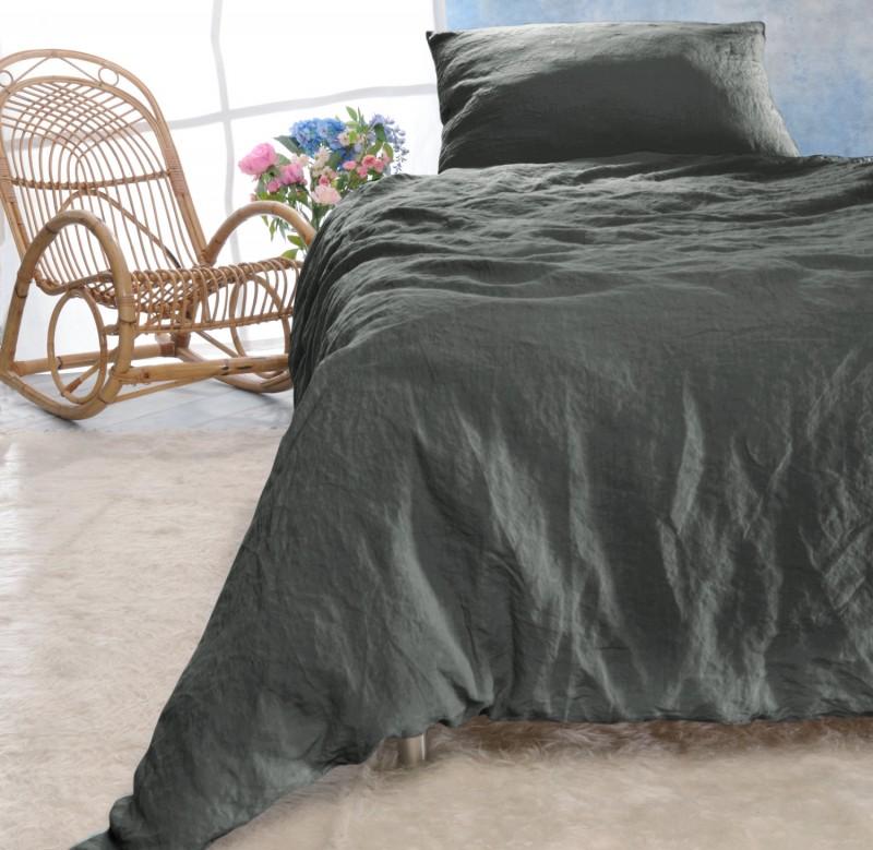 Leinen-Bettwäsche-Set Sintra grau-braun 100% Leinen - hergestellt in Portugal nach Öko Tex 100
