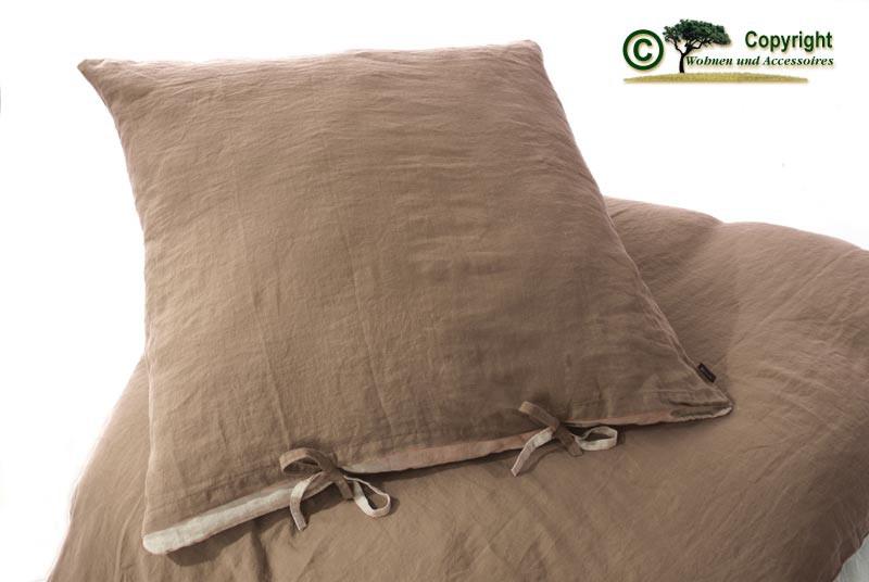 Französische Leinen-Bettwäsche, Kissenbezug 80x80cm aus 100% Leinen braun
