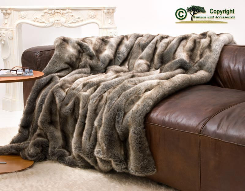 Felldecke (Webpelzdecke) Wolf grau-braun 170x220cm