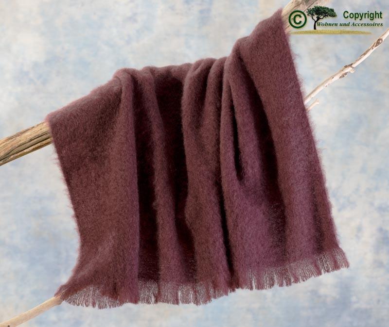 Beste Qualität aus Neuseeland! Luxus Wolldecke aus 100% Mohair, Mohairdecke, Mohairplaid brombeere
