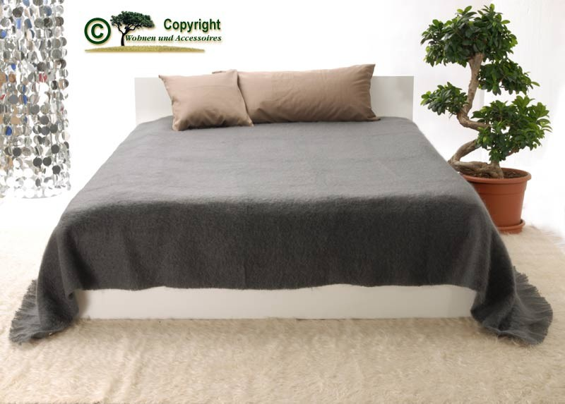 XXL übergroße Wolldecke Tagesdecke aus Mohair in dunkelgrau anthrazit 220x240cm
