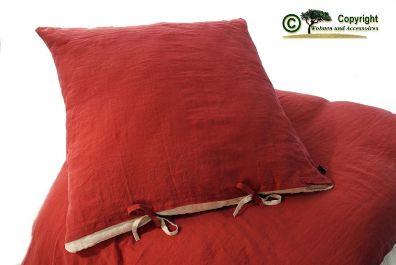 Französische Leinen-Bettwäsche, Kissenbezug 80x80cm aus 100% Leinen rot