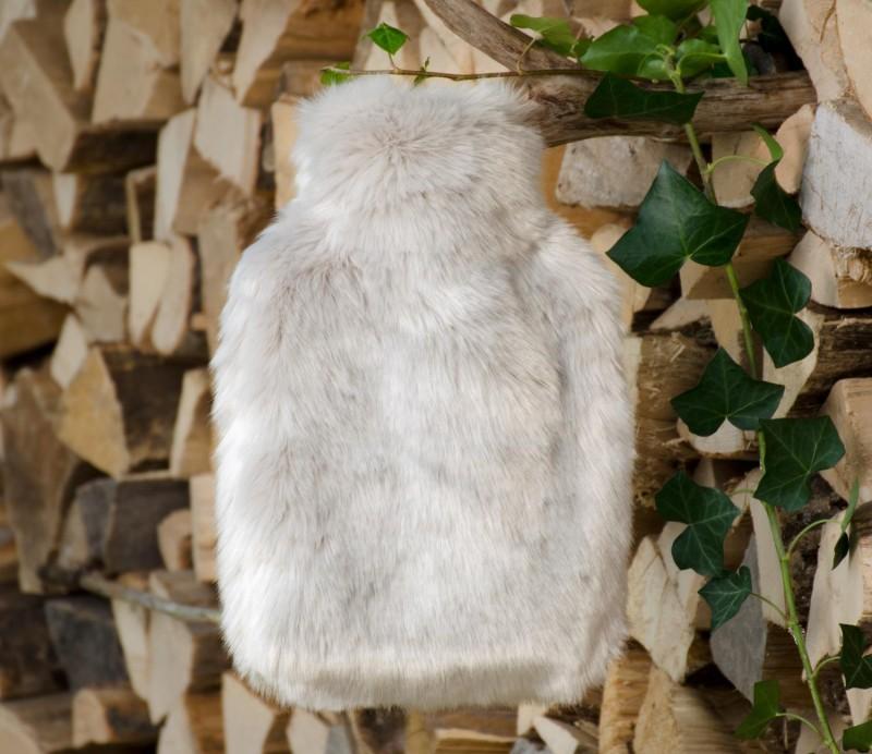 Wärmflaschenhülle aus Fell (Webpelz) Zobel silber-grau mit Naturgummi Wärmflasche - Premium superfei