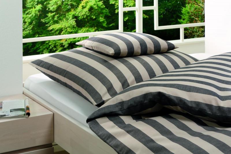Schlitzer Halbleinen-Bettwäsche, Bettbezug aus deutscher Produktion 135x200cm natur-schwarz