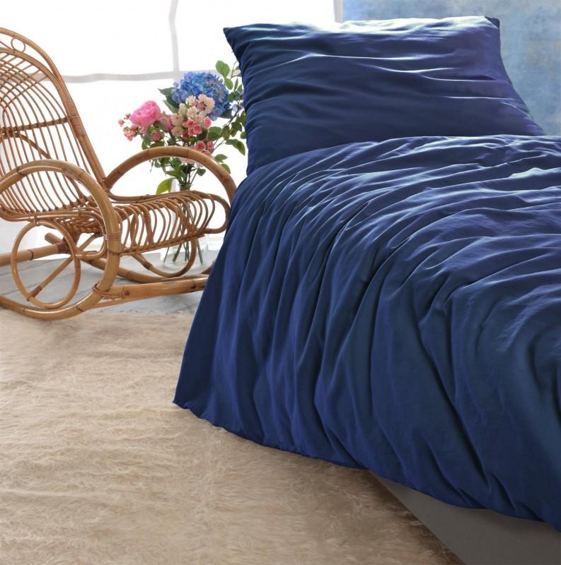 Satin Bettwäsche Set Porto In Blau 100 Baumwolle Hergestellt In