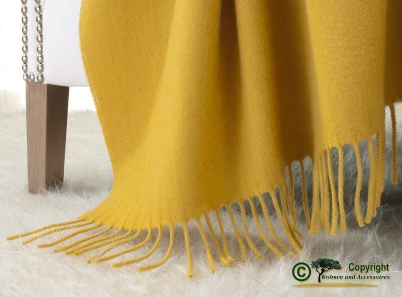 Kaschmirdecke Victoria gelb, 100% Kaschmir 130x190cm