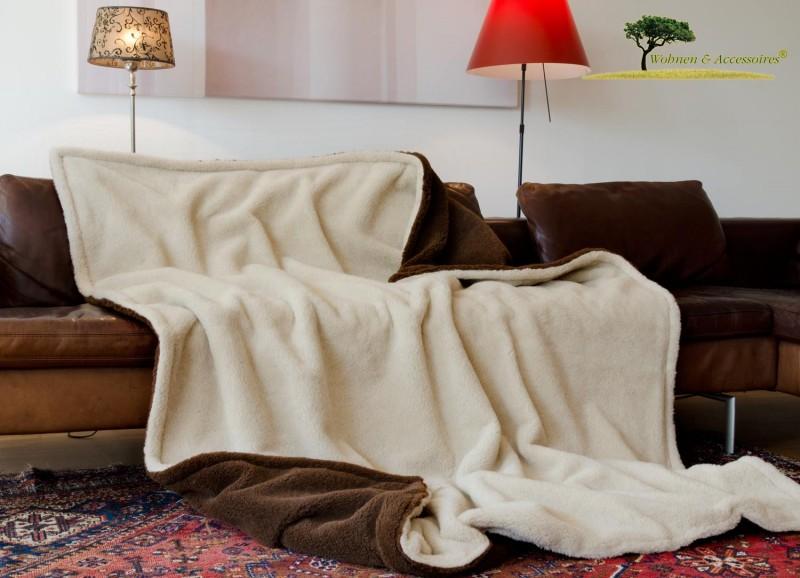 Alpaka Doppel-Wolldecke 150x200cm dunkelbraun-hellbeige aus Eiderstedt Alpaka