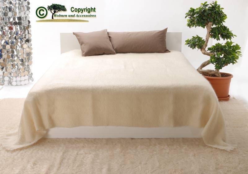 XXL übergroße Wolldecke Tagesdecke aus Mohair in wollweiß elfenbein 220x240cm