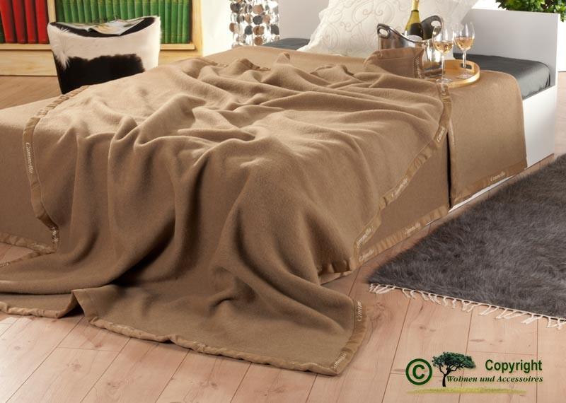 Italienische Kamelhaardecke, weiche Wolldecke aus 100% Kamelhaar in 160x200cm Kamel-braun
