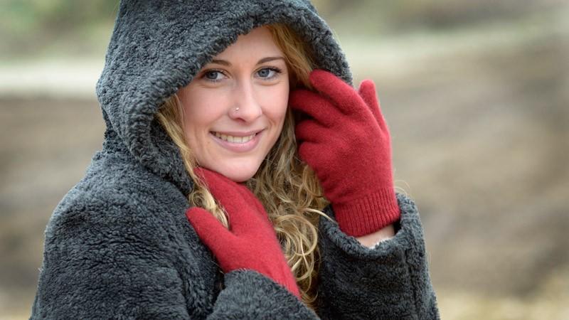 Wollhandschuhe Possum-Merino und Seide, Handschuhe aus Wolle in rot Größe M