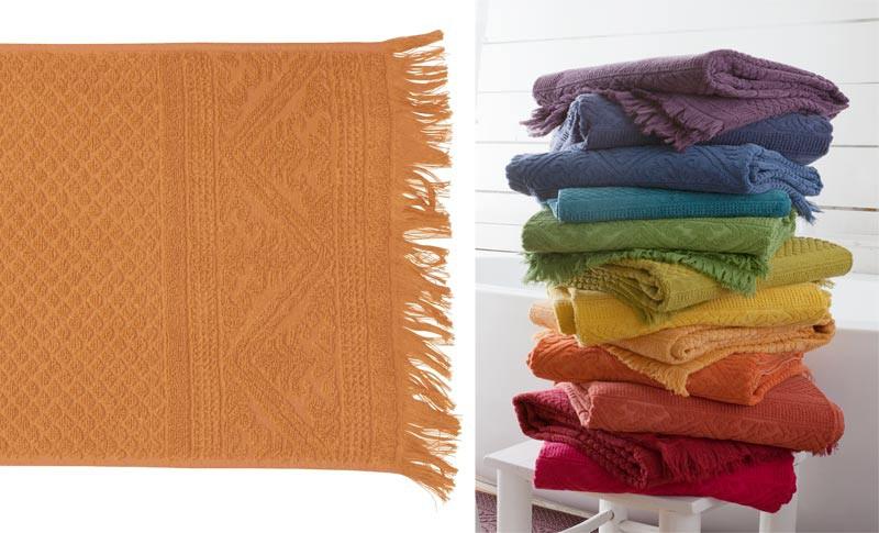Handtuch 50x100cm aus reiner Baumwolle in gelb-orange