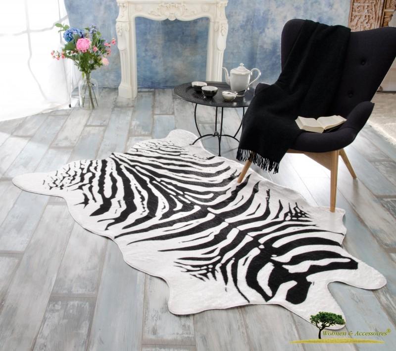 XXL Fellteppich, großer Kurzflor Teppich Zebra
