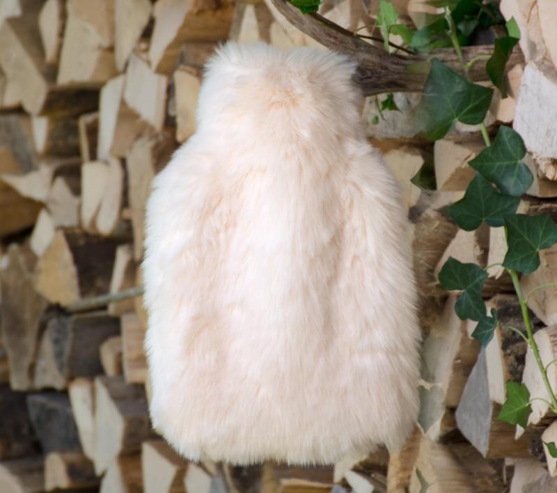Wärmflaschenhülle aus Fell (Webpelz) Kaninchen mit Naturgummi Wärmflasche - Premium superfein