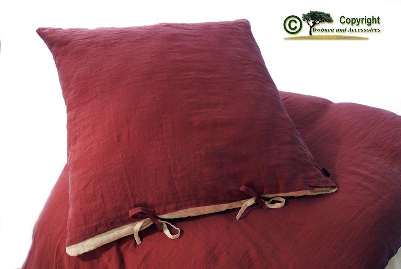 Französische Leinen-Bettwäsche, Kissenbezug 80x80cm aus 100% Leinen bordeaux-rot