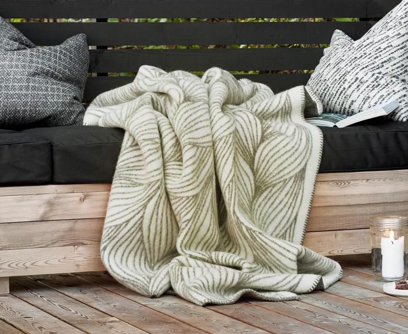 Wolldecke FLETTE von Røros, Naturplaid aus feiner Lammwolle 135x200cm