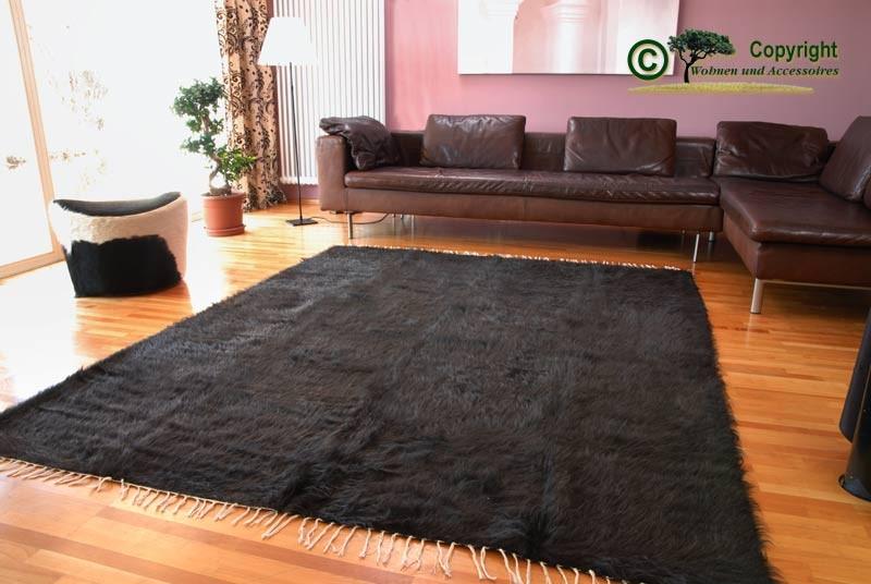 Teppich aus reinem Mohair - Ziegenhaarteppich - schwarz melierter Naturton mit seidigem Glanz