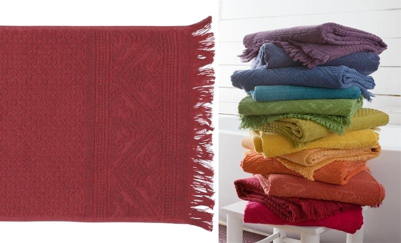 Gästehandtuch, Gästetuch 30x50cm aus reiner Baumwolle in Rubin-rot