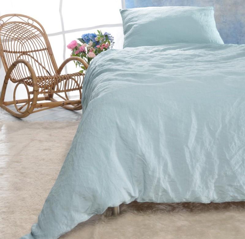 Leinen-Bettwäsche-Set Sintra grau-blau 100% Leinen - hergestellt in Portugal nach Öko Tex 100