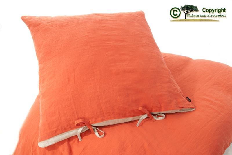 Französische Leinen-Bettwäsche, Kissenbezug 80x80cm aus 100% Leinen terracotta-orange