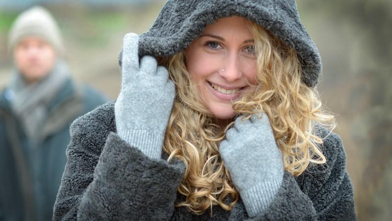 Wollhandschuhe Possum-Merino und Seide, Handschuhe aus Wolle in silber Größe M