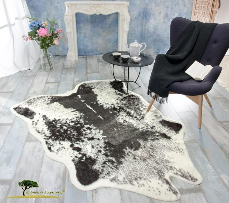 kuhfell teppich schwarz fellimitat