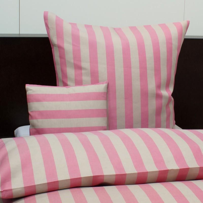 Schlitzer Halbleinen-Bettwäsche, Bettbezug aus deutscher Produktion 135x200cm natur-pink