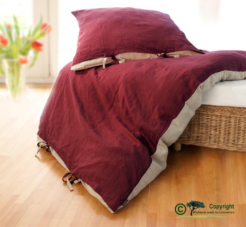 Französische Leinen-Bettwäsche, Bettbezug 140x200cm aus 100% Leinen bordeaux