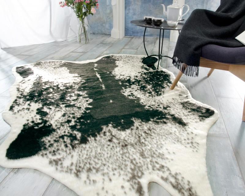 Kuhfell Teppich, Fellteppich schwarz aus Kunstfell, elegant und flauschig