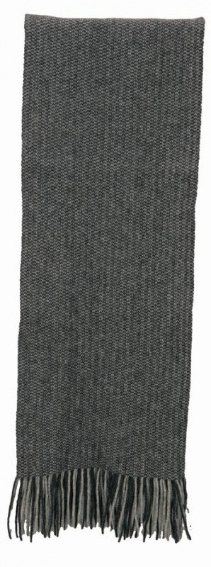 Fransenschal Possum-Merino und Seide, Wollschal silber-grau meliert