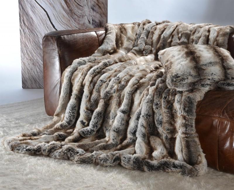 Felldecke (Webpelzdecke) Wolf grau-braun 150x200cm - Premium superfein