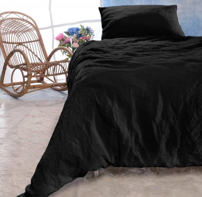 Leinen-Bettwäsche-Set Sintra schwarz 100% Leinen - hergestellt in Portugal nach Öko Tex 100